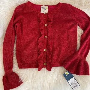 NWT red sweater for girls 5T. Gorgeous ruffles